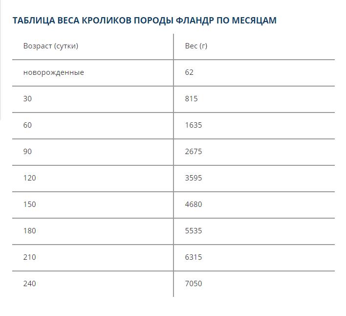 Таблица роста и веса кроликовпородыфландр: